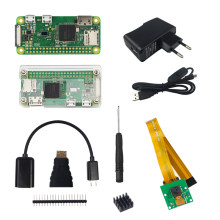Raspberry Pi Zero W Kit + Acrylic Case + 5MP Camera + Micro OTG Cable + GPIO Header + Mini HDMI Adapter +16G SD Card + USB Cable(China)