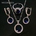 Imitado Sapphire Silver Plated Jewelry Set Pendientes Collar Con Circones CZ Azul Orecchini Rossi Joyería Bisuteria Ys003