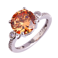 Lingmei Wholesale Women Rings Silver Free shipping Ring Size 6 7 9 Morganite New Classic Round Cut Gems plated Jewelry
