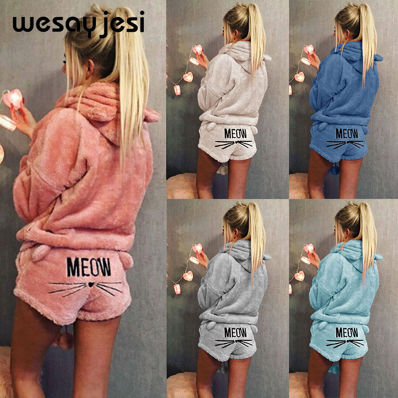 Sports Suit Female Women Tracksuit Plus Size 5XL Winter Warm Pajamas Two Piece Set Sleepwear Cute Cat Meow Pattern Hoodies