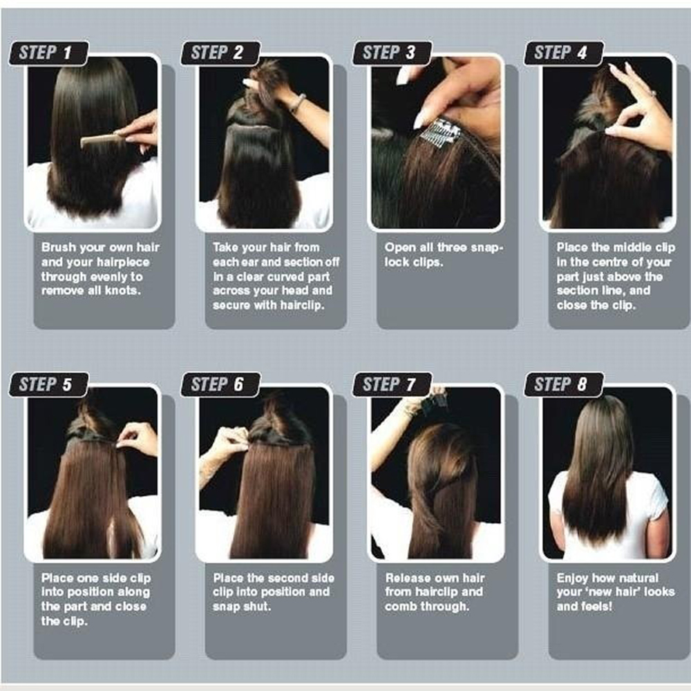 7pcsset Full Head 24 Straight Synthetic Hair Extensions 160g 1b