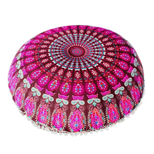 45*45cm Mandala Floor Pillows Case Bohemian Meditation Cushion Cover Round Flower Print Pouf Retro Boho Tapestry Cases 1PC
