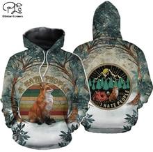 Fox Kills You Cheer Up I Hate People Camping 3D print Hoodies Men Women New Fashion Hooded Sweatshirt Long Sleeve tree Pullover цена и фото