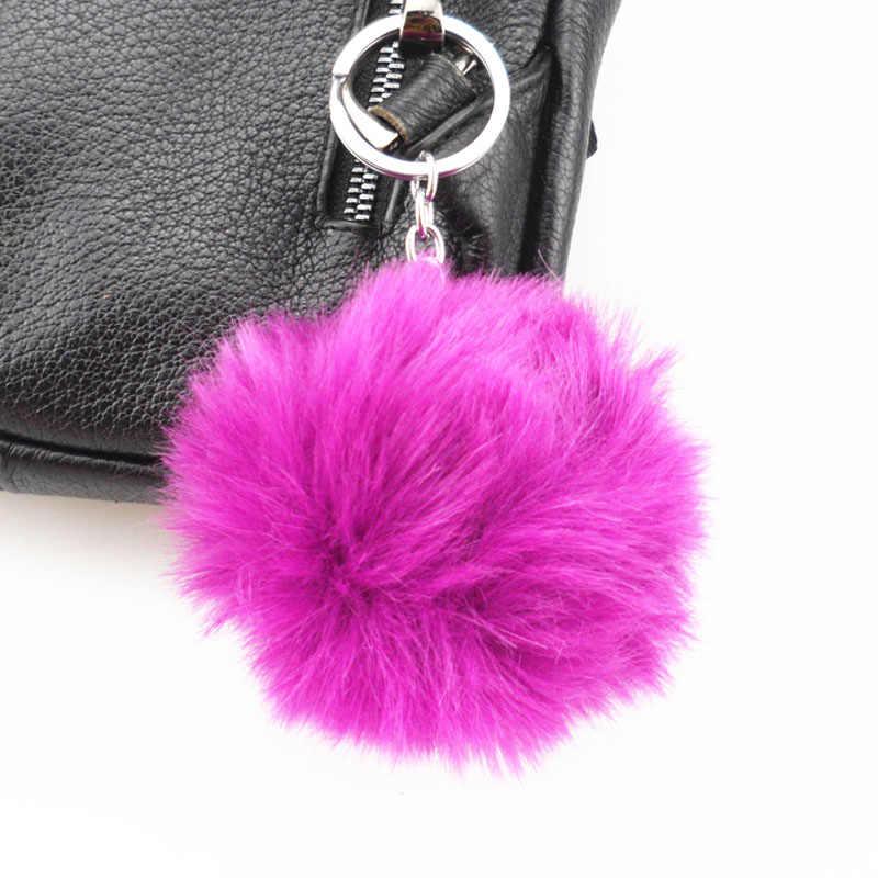 8 cm 13 Cores Pompom Fofo Chaveiro Bola de Pêlo de Coelho Bonito Creme Preto Artificial Pele De Coelho Chaveiro Carro Das Mulheres saco do Anel Chave