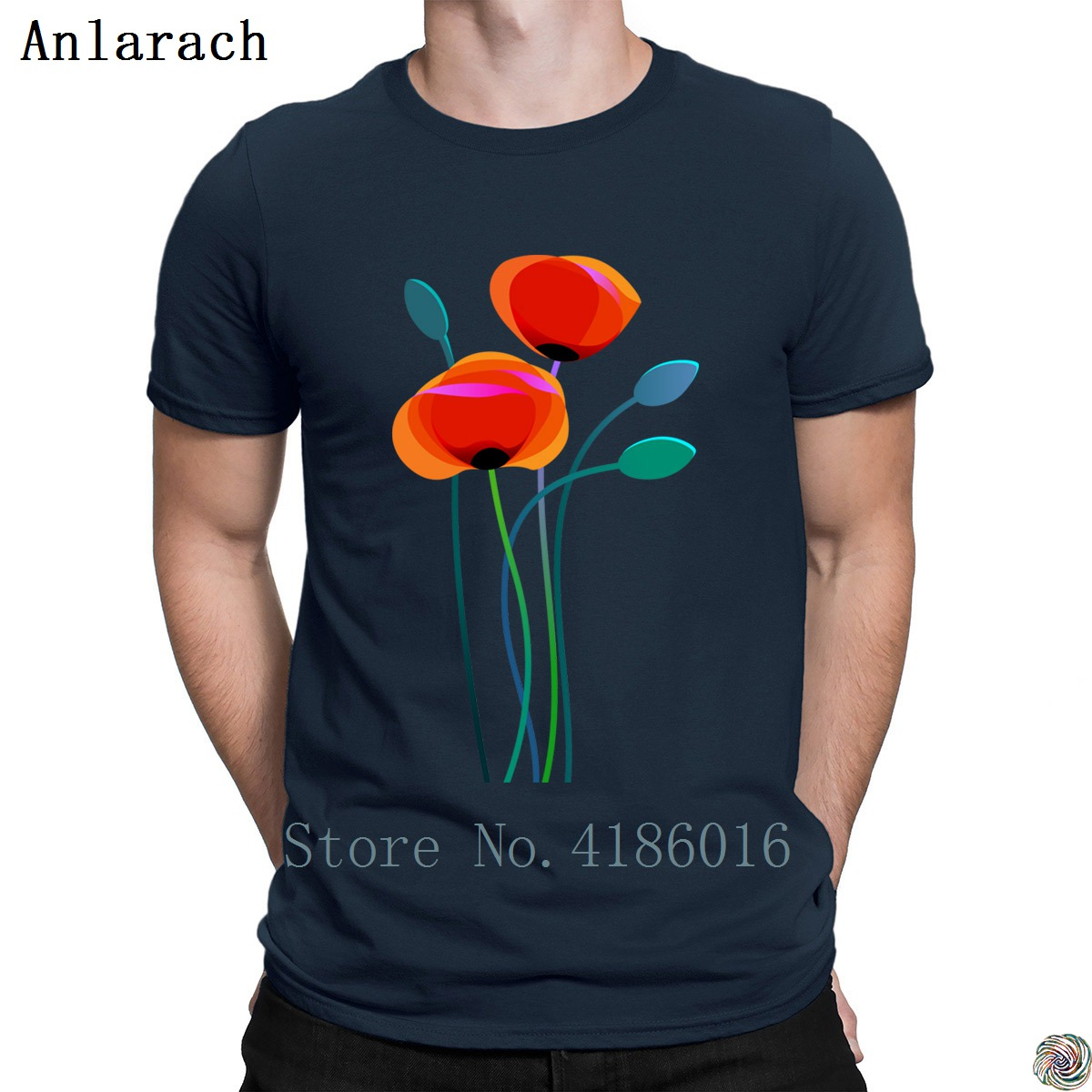 Poppy Flowers tshirts Tee top Designing Natural streetwear t shirt for men Graphic Short Sleeve Spring Autumn Casual