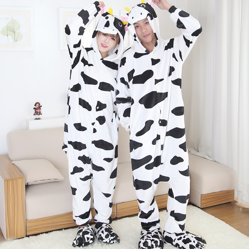 XXL Couple Dairy Cattle Kigurumi Cow Onesie Animal Jumpsuit Sleepwear For Adult Pajamas For Halloween Pyjamas Suits Home Party