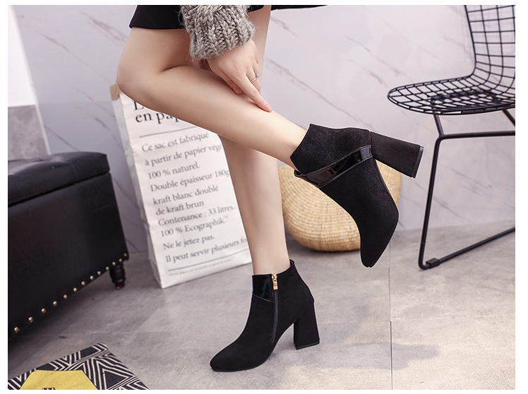 High heels shoes women autumn winter sexy pointed toe ankle boots ladies retro chunky heels short boots botas mujer beige black 55