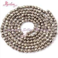 FREE SHIPPING DIY BRACELET NECKLACE JEWELRY MAKING 2MM FACETED ROUND SILVER GRAY PYRITE SPACER BEADS STRAND
