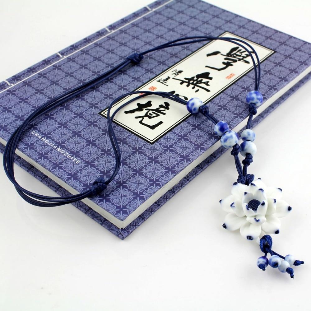 Handmake Vintage Lotus Flower Pendant Kalung Sweater Rantai Biru dan - Perhiasan fesyen - Foto 3
