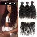 10A Peruvian Kinky Curly Virgin Hair 3 Bundles With Closure Grace Peruvian Virgin Hair With Frontal Closure Peruvian Curly Hair