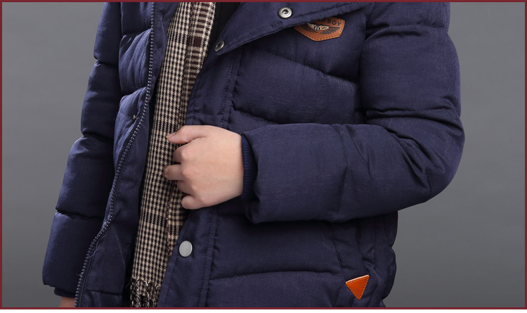 Image 4 - 2018 New Hooded Boys Winter Coat Solid Boy Winter Jacket Warm Down Cotton Children Kids Winter Jacket OutWear 3 to 15 Years-in Down & Parkas from Mother & Kids