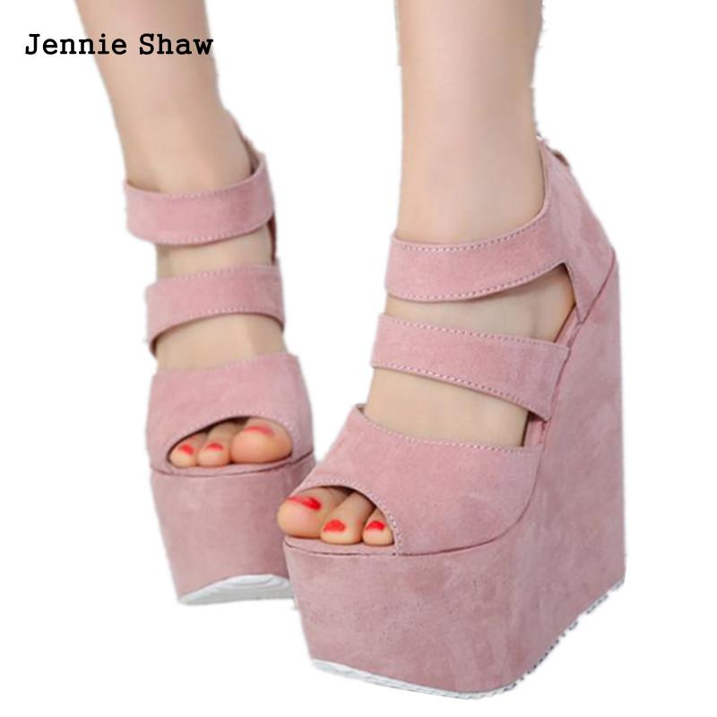 Wedges 17cm High Heel Shoes Night Club Summer Sandals For Women Platform Pink Black Summer