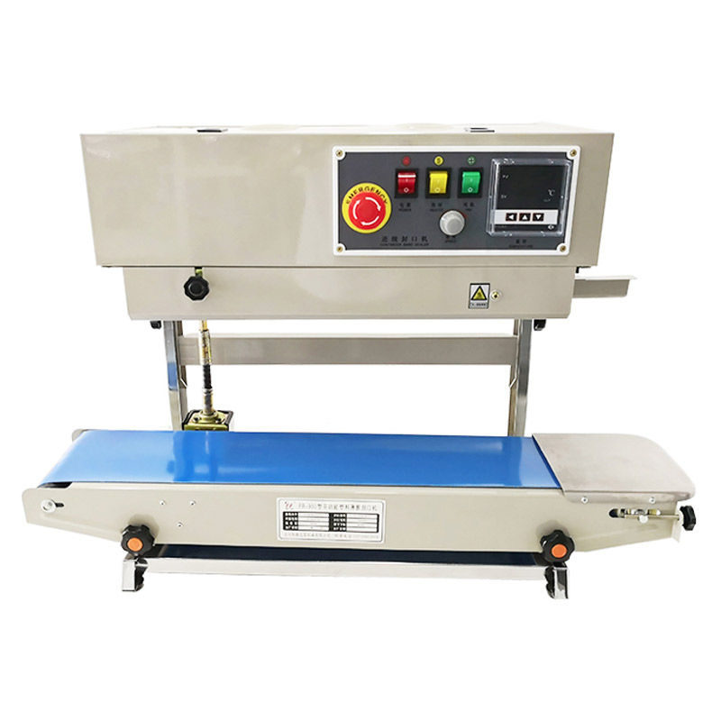 YTK Automatic Vertical Type Stainless Iron Body Sealer Continuous Plastic Film Sealing Machine With Conveyor FR900LS