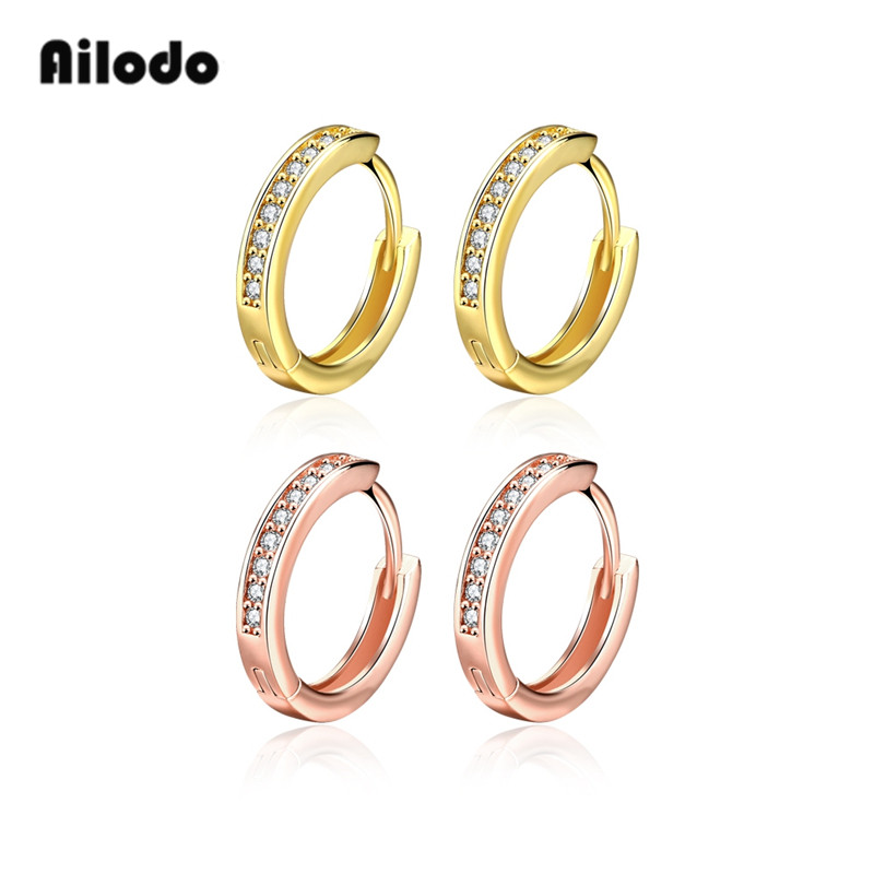 Ailodo Luxury Full Zircon Clip Earrings For Women Gold Rose Color Female Party Wedding Fashion Jewelry Gift LD231
