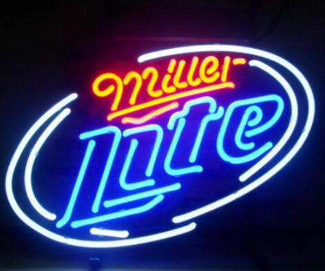 Barre de bière au néon en verre blanc Miller Lite