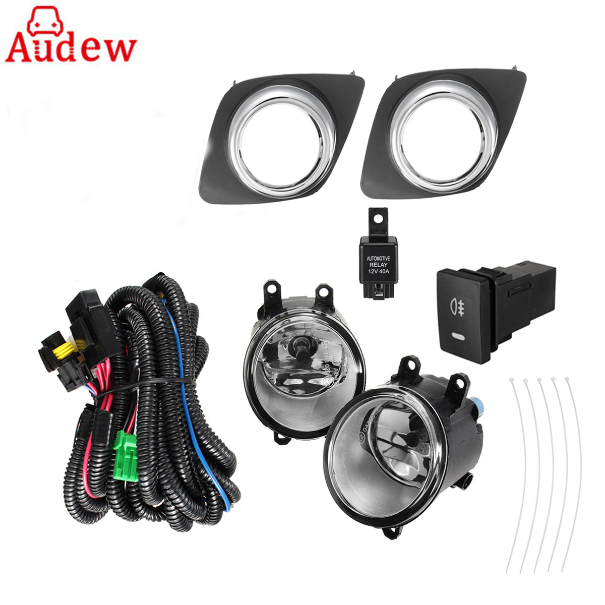 1Pair Car 110W Clear Front Fog Lights Right&Left with H11 Bulbs Wiring Switch For  Toyota RAV4 2009-2012 for opel astra h gtc 2005 15 h11 wiring harness sockets wire connector switch 2 fog lights drl front bumper 5d lens led lamp