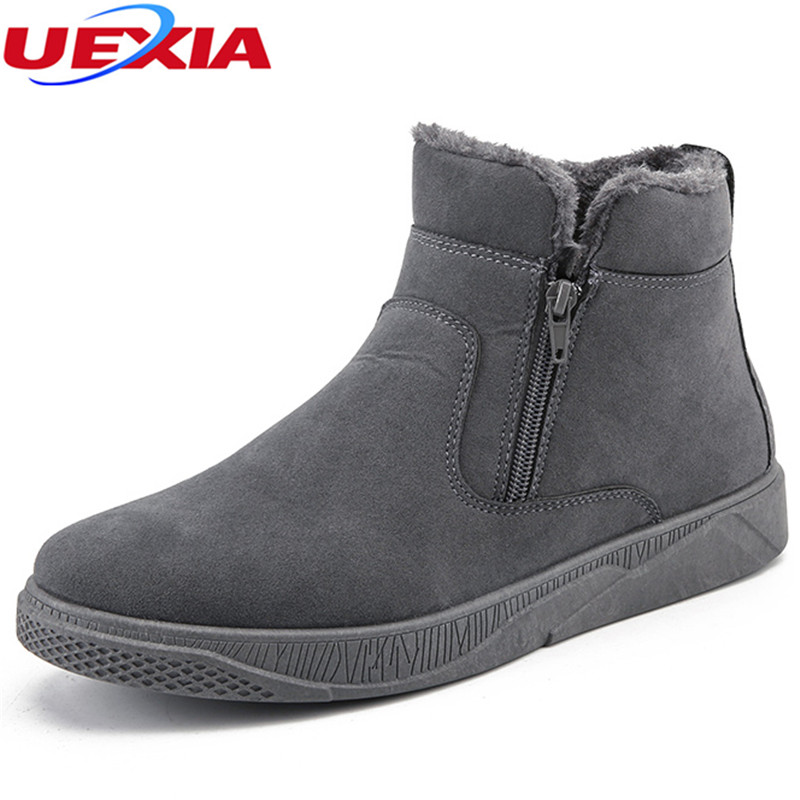 UEXIA Winter Boots Men Plush Warm Shoes Anti-skidding Wear Resistant Ankle Working Casual Martin Boots Warm Shoes Fashion Winter chilenxas autumn warm winter leather footwear shoes men casual new fashion ankle boots breathable light hard wearing anti odor