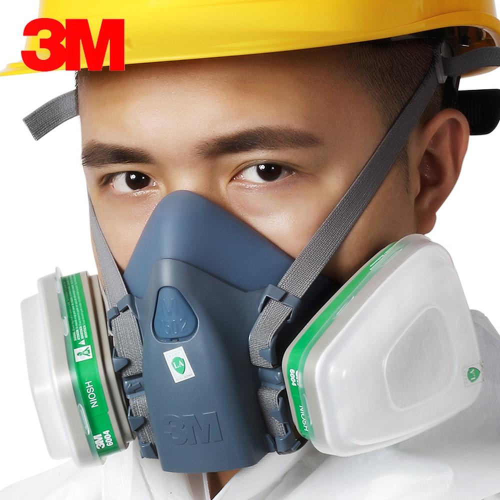 3M7502 With 6004 Silicone Mask Half Facepiece Respirator Ammonia Organic Vapor Cartridges Filters south nuclear 8009 9013 half facepiece reusable respirator organic mask anti organic vapor
