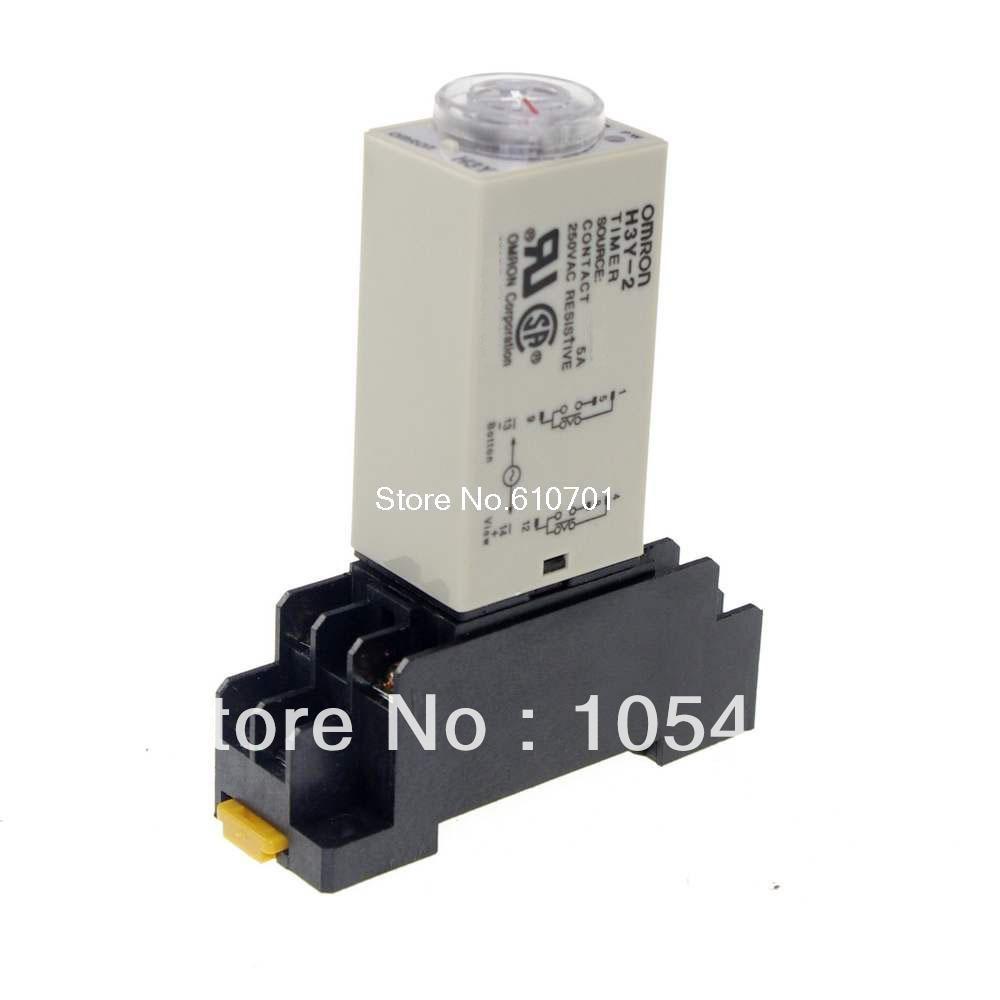 1PCS 12VDC/24VDC/24VAC/110VAC/220VAC H3Y-2 Power On Time Delay Relay Timer 2.0-60S DPDT 8Pins&Socket 5A knob control dc24v dc12v ac110v ac220v 8p dpdt 5s seconds timer time delay relay w socket h3y 2