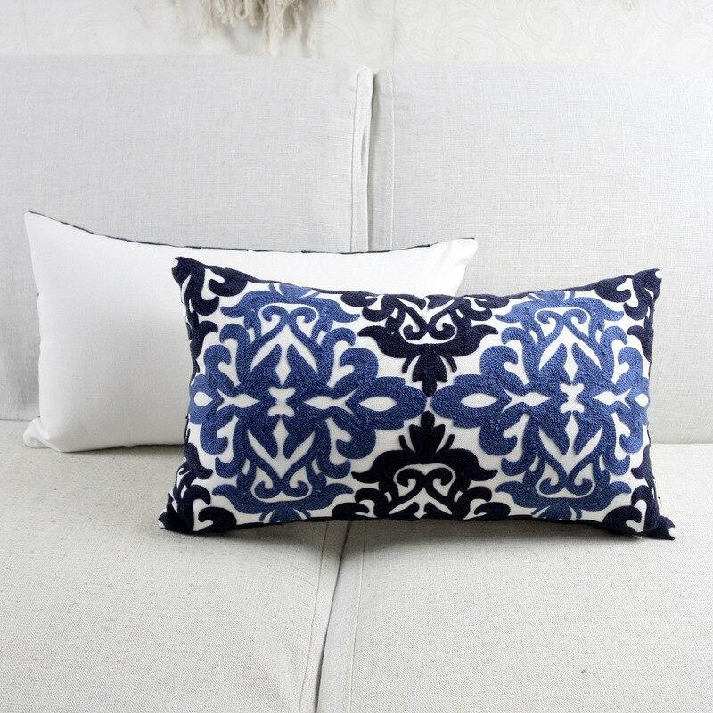 Funda de cojín bordado étnico azul Floral para sofá asiento Simple ...