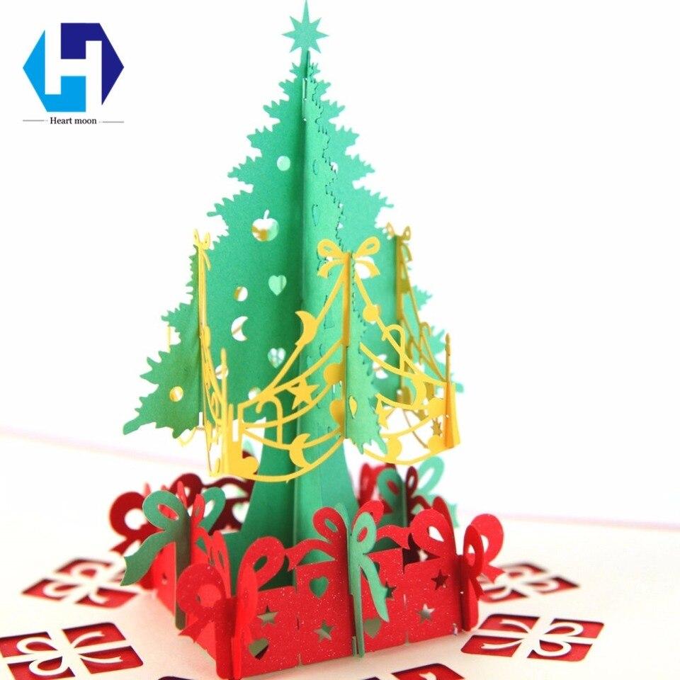 3d Feliz Navidad Tarjetas Invierno Regalo Pop Up Tarjetas Navidad Fiesta Invitaciones Con Decoración Corte Láser Año Nuevo Tarjetas Con Sobres