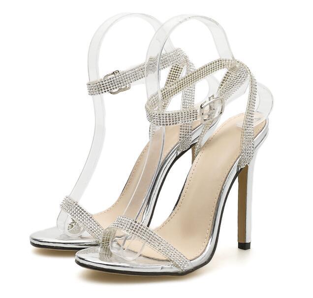 Verano De Llegada Diamantes Tacón plata Imitación Alto Bling Sandalias Cristal Nueva Mujer Negro 5wRqC44