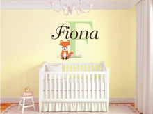 Custom Fox Name Wall Stickers Monogram Vinyl Wall Decal Decor Kids Room Nursery Wall Tattoo Home