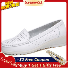 Krasovki Bean Shoes Women Hollow Nurse Small White Fashion Dropshipping Breathable Soft Bottom Slip on Casual