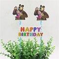 1set masha and bear theme cake flags cupcake cake topper happy birthday party supplies cake baking picks party decorative