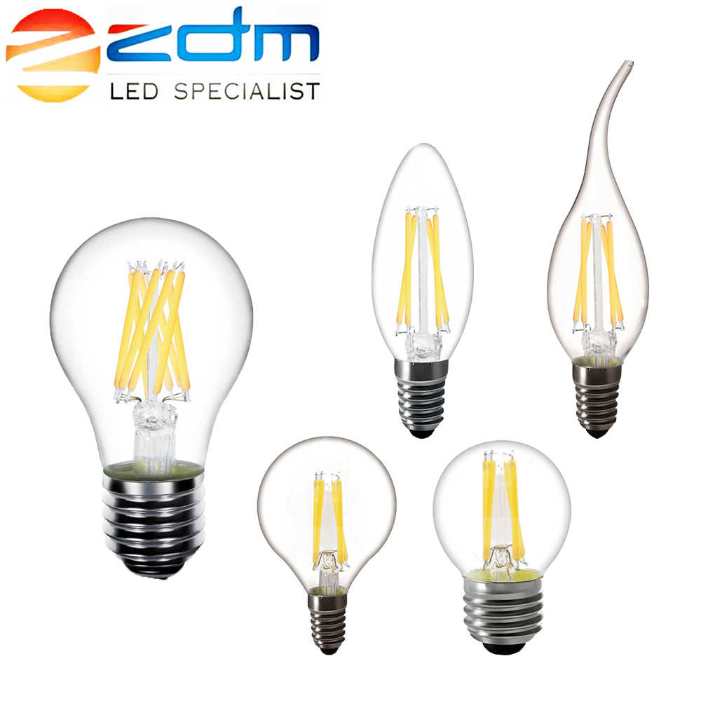 ZDM LED Candle bulb C35 G45 vintage lamp E14 LED E27 A60 220v LED Globe decorative 2W 4W 6W 8W Filament Edison LED Light Bulbs