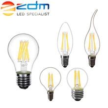 Zdm conduziu a lâmpada da vela c35 g45 st64 lâmpada do vintage e14 conduziu e27 a60 220v globo do diodo emissor de luz 2w 4w 6 8w filamento edison conduziu lâmpadas