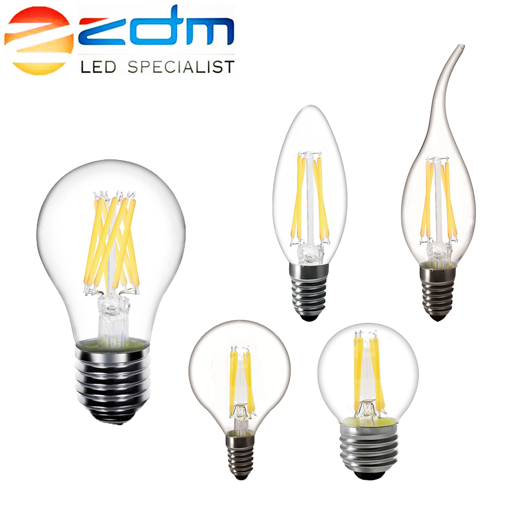 ZDM <font><b>LED</b></font> Candle <font><b>bulb</b></font> C35 G45 vintage <font><b>lamp</b></font> <font><b>E14</b></font> <font><b>LED</b></font> E27 A60 220v <font><b>LED</b></font> Globe decorative 2W 4W 6W 8W Filament Edison <font><b>LED</b></font> Light <font><b>Bulbs</b></font> image