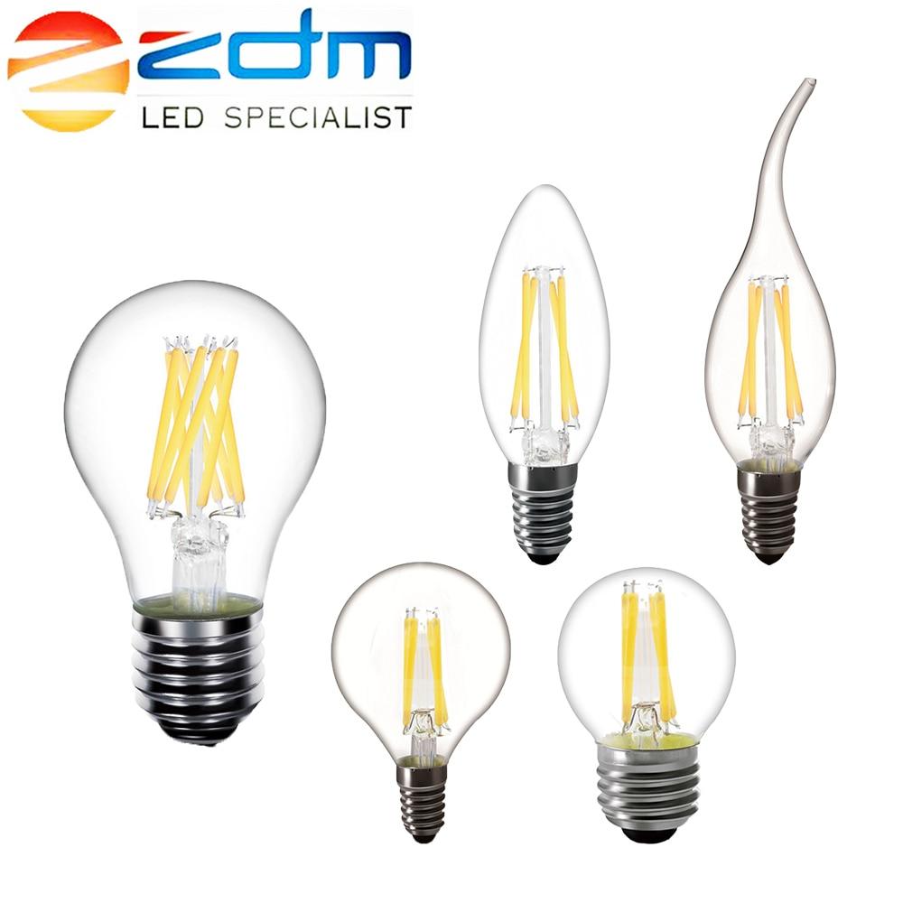 Zdm candle lâmpada led c35 g45 st64, vintage, lâmpada e14 led e27 a60 220v, globe 2 w 4 lâmpadas led edison com filamento de 6 w e 8 w