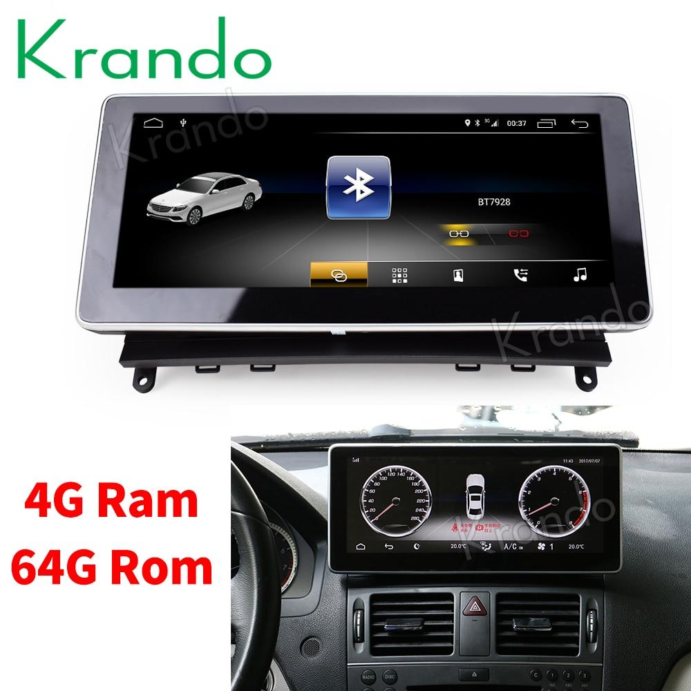 Krando Android 8 1 10 25 car radio dvd navigation for Benz C Class W204 2008