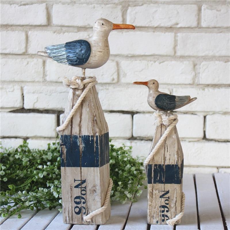 2pcs/set Mediterranean Kawaii Resin Stump Bird Ornaments Home Desktop Bird Figurine Decoration Painting Wood Seabirds Dekoration