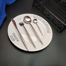Hot Sale 4pcs Pure Silver Western Cutlery Dinnerware Kitchen 304 Stainless steel Knife Fork Spoon Food Tableware Flatware Set цена и фото