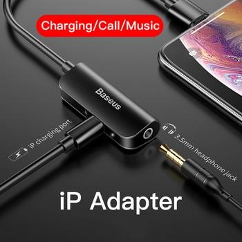 Adaptador de áudio auxiliar baseus para iphone xs max xr x 8 7 plus splitter para 3.5mm jack fone de ouvido conversor de fone de ouvido otg conector do cabo 1