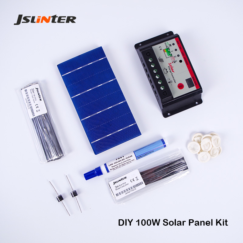 JSLINTER Solar Cell Kit with 50pcs 6x3 Poly Cells and Welding Sets and Solar Charger Controller for DIY 12v 100w solar panel high efficiency solar cell 100pcs grade a solar cell diy 100w solar panel solar generators