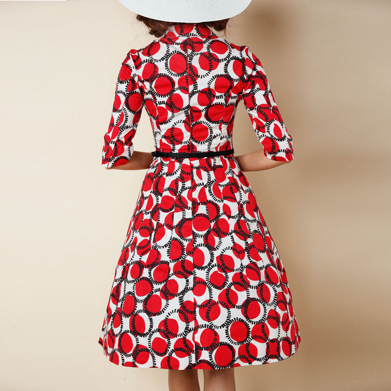 eba8835dc1d 1950s pinup vintage rockabilly shirt collar swing dress in red dots-in  Dresses from Women s Clothing on Aliexpress.com