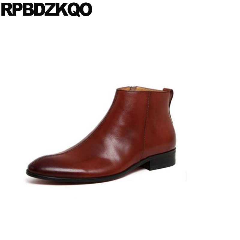 Chunky Booties Wedding Brown Autumn Full Grain Leather 2018 Genuine Men Mens Zipper Dress Boots Shoes Pointed Toe Formal Ankle