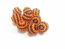 Newest !! 20mm 100pcs/lot New Stripe Black With Orange Stripe Resin Rhinestone Ball Beads,Chunky Beads For Kids Jewelry Making