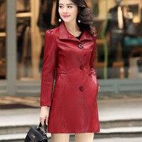 Genuine leather trench women 2019 autumn and winter female sheepskin coat medium long plus size three button outerwear 5XL 6XL