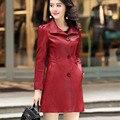 Couro genuíno trench feminina 2020 outono e inverno feminino casaco de pele de carneiro médio-longo mais tamanho três botão outerwear 5xl 6xl
