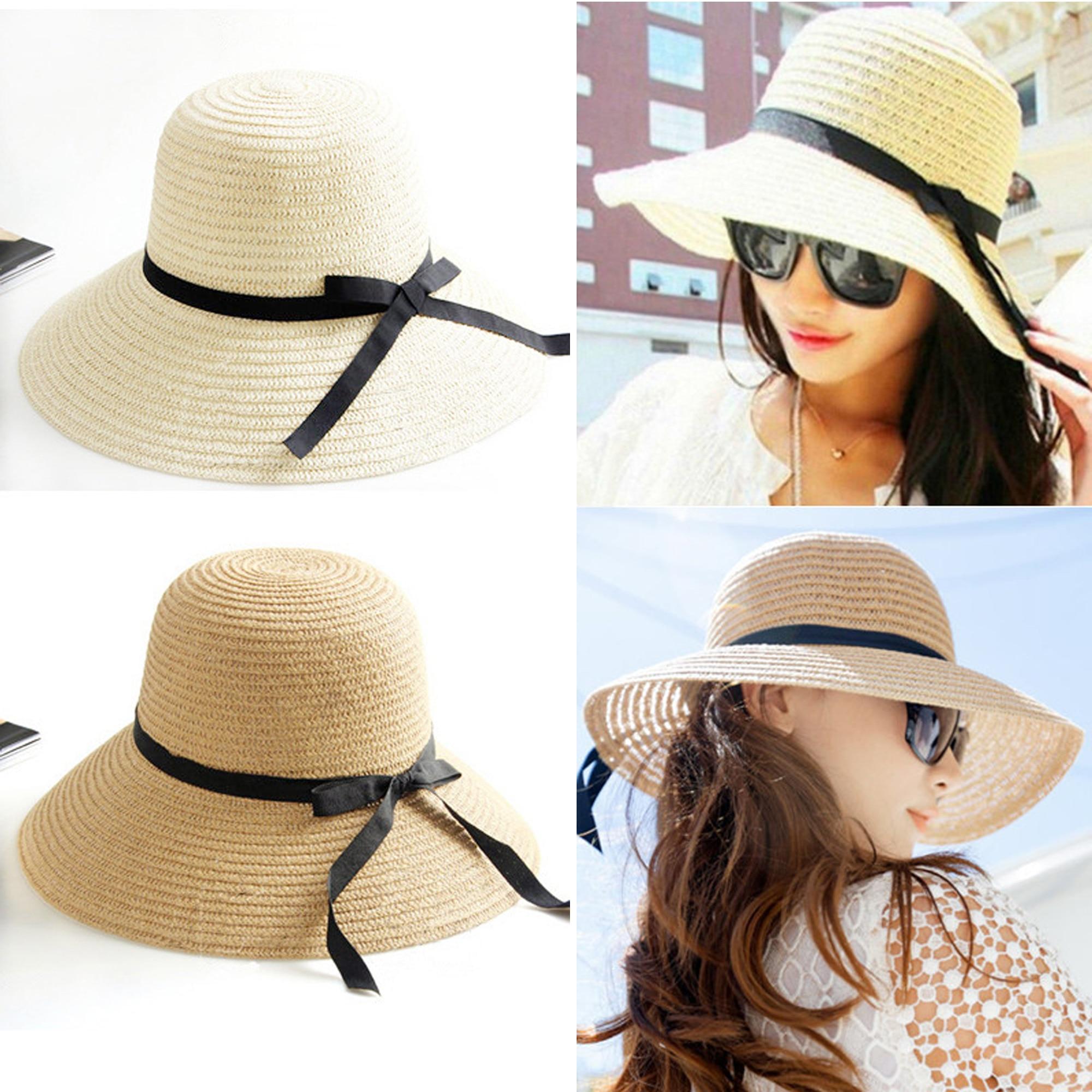 4e55aae3d Nuevo sombrero de Sol de moda para mujer, sombreros de paja plegables de verano  para mujeres, sombreros de playa, 2 colores, calidad superior, ...