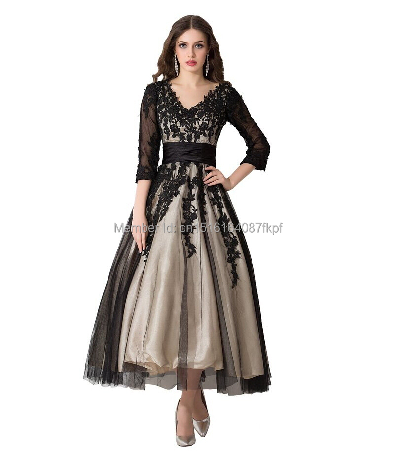 Vestidos Tea Length Black Long Prom Dresses 3 4 Sleeves 2016 Sexy ... 3a185045926c