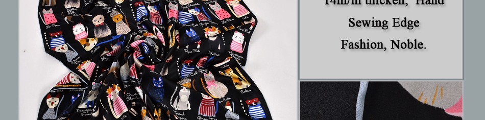 Cat Design Women's Square Silk Scarf