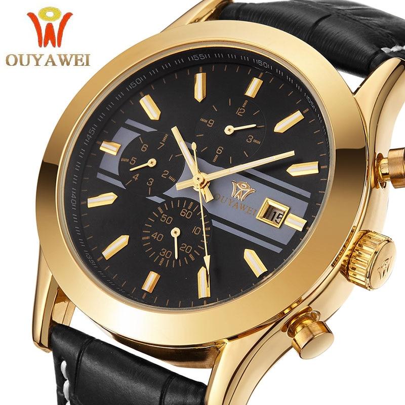 Vyriški laikrodžiai Į viršų Gamintojas Prabangūs vyrai Rankiniai laikrodžiai Verslas Mechaniniai laikrodžiai Ouyawei Brand Clock xfcs