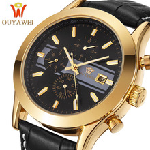 OUYAWEI Mechanical Watch Men  Skeleton wristwatch Man watches Leather Relogio Masculino Luxury Fashion Casual Wrist Watch 2016 все цены