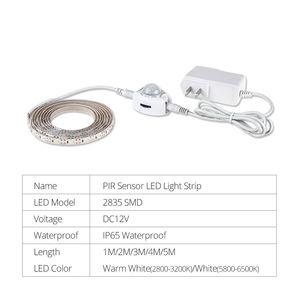 1-5 м светодиодный светильник для шкафа датчик движения DC12V 2835 SMD светодиодный светильник с 12V 1A 2A 3A источник питания