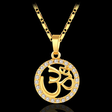 Small India Yoga Necklace Pendant Women Girl  Hindu Buddhist AUM OM Hinduism Religious necklace jewelry Bijoux